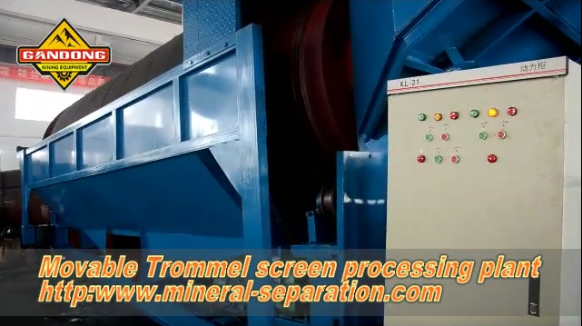 Movable trommel screen processing plant, mobile trommel washing plant